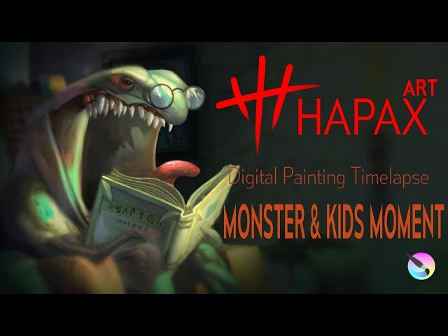 Digital Painting Timelapse | Monster and Kids Moment