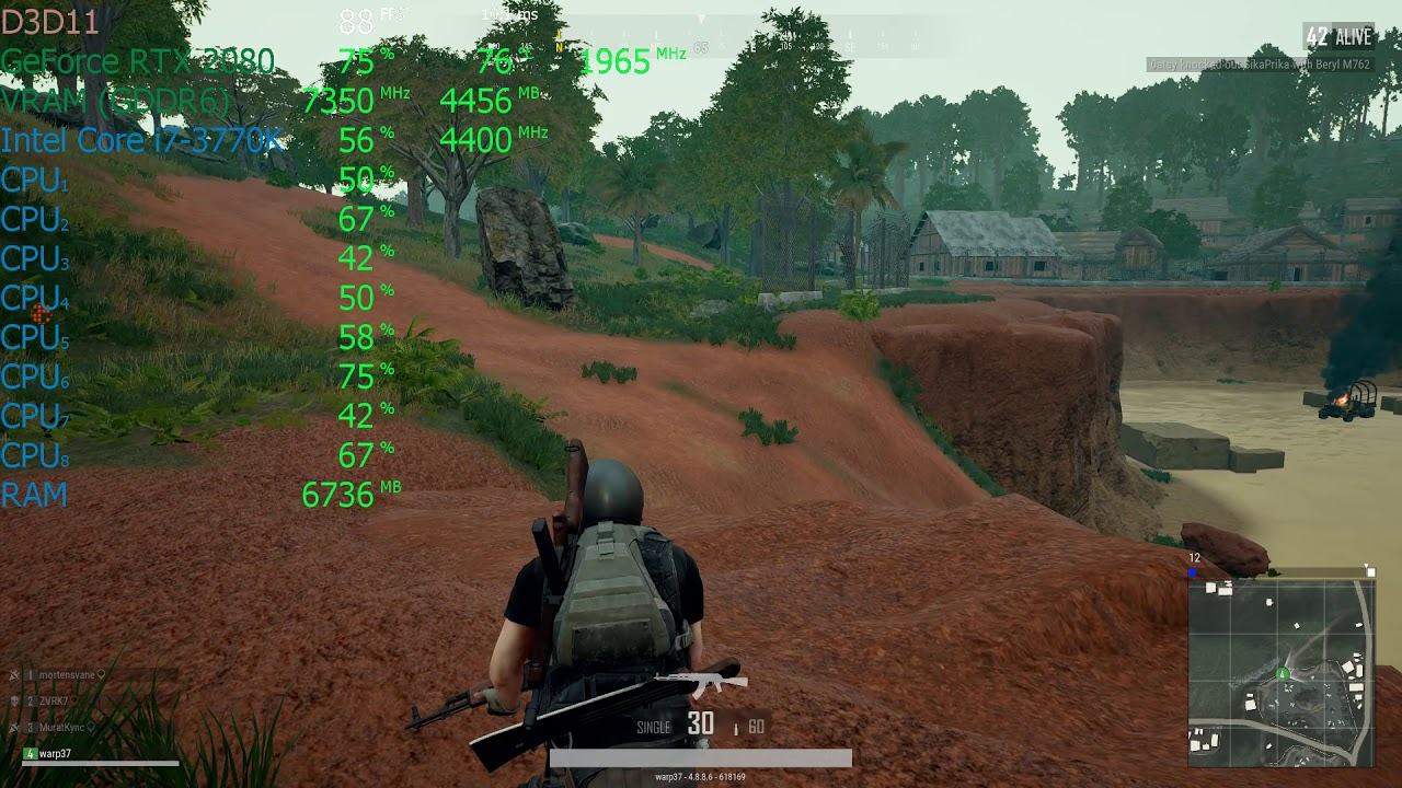 PUBG on Core i7-3770K/ASUS ROG STRIX GeForce RTX 2080 OC - 1080p Ultra  Settings