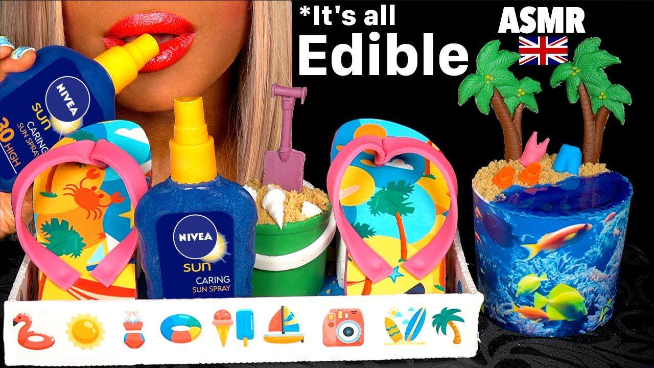 ASMR EATING REALISTIC CHOCOLATE FLIP FLOP, BEACH CAKE, EDIBLE SUN SPRAY BOTTLE, JULY BDAY MUKBANG 먹방