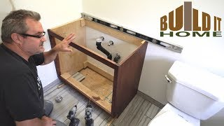 Now that the carcass of the vanity is finished, it can be installed and the sink put in and hooked up. Like I said in the video, I need to