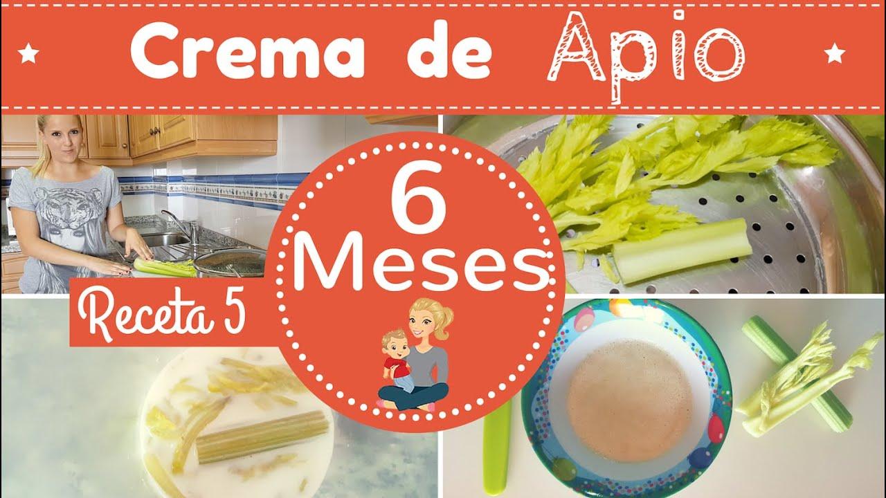Receta 5 para bebe de 6 meses crema de apio primeras recetas para mi bebe youtube - Papillas para bebes de 6 meses ...