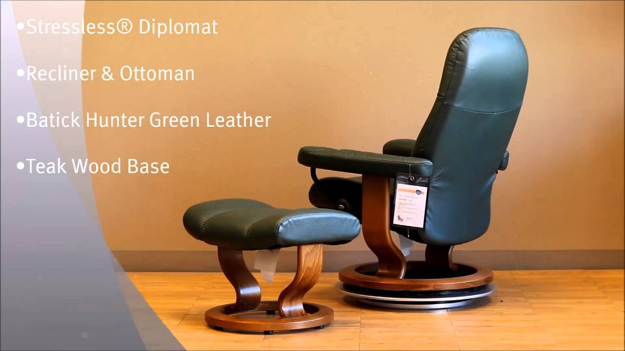 Stressless Diplomat Recliner and Ottoman in Batick Hunter Green Leather and Teak Wood Base by Ekorne & Stressless Diplomat Recliner and Ottoman in Batick Hunter Green ... islam-shia.org