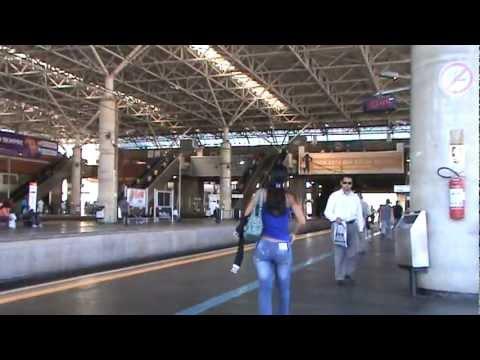 Train Station in Brazil - Brazilian commuters walk around
