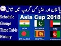Asia Cup 2018 Time Table, Groups, Pakistan Vs India ODI Matches, News, Schedule Matches