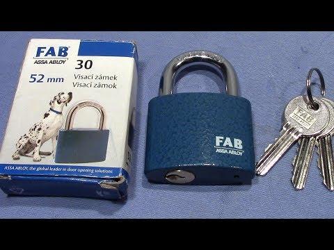 Взлом отмычками ABLOY   (picking 382) FAB 5 pin padlock 52mm