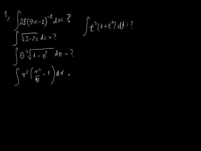 A határozatlan integrál és a helyettesítési szabály - Feladatok