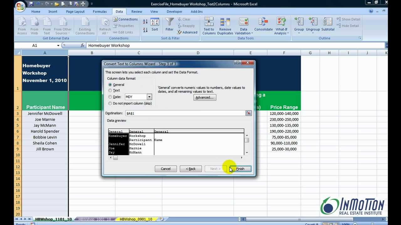 How To Separate Text Into Two Columns In Excel Youtube