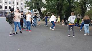 K-Pop cover dance in a street in Riga