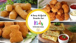 4 Quick & Easy Snacks Recipe for Kids Tiffin Box | Kids Lunch Box Ideas
