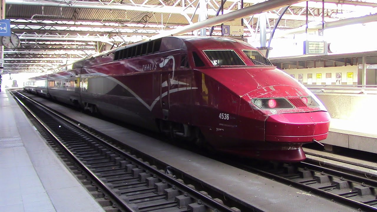 thalys high speed train departing brussels midi belgium. Black Bedroom Furniture Sets. Home Design Ideas