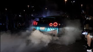 Nissan R35 GTR MASSVIE 2WD BURNOUT FLAMES