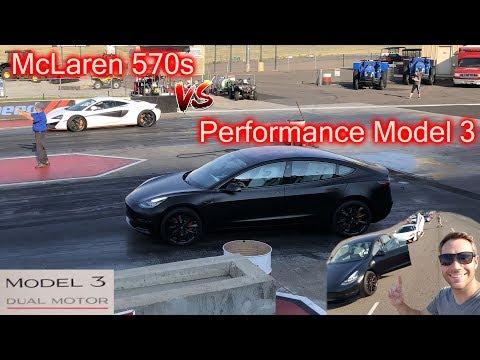 Tesla Performance Model 3 vs. McLaren 570s! 1/4 mile.