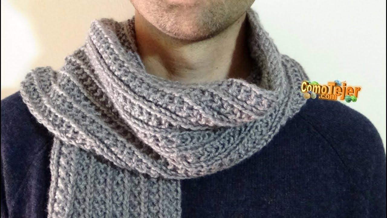Cómo Tejer Bufanda para Hombre - Reversible - How to Knit Men Scarf - 2  agujas (551) 3e34962c9bac