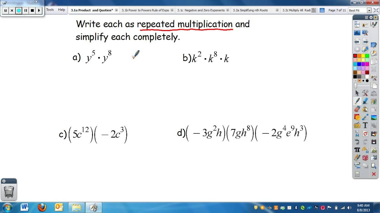 Algebra 3 1a Prodict Of Power And Quotient Of Power Rules