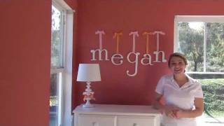Wooden Wall Letters With Hanging Ribbon For Nursery & Children's Room Decoration