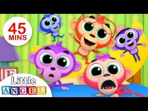 Free Download Five Little Monkeys | Humpty Dumpty, Itsy Bitsy Spider | Kids Songs & Nursery Rhymes By Little Angel Mp3 dan Mp4