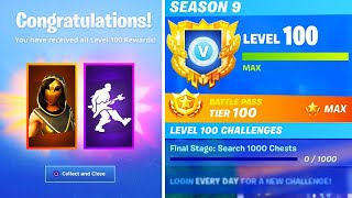 The NEW LEVEL 100 REWARDS in SEASON 9! UNLOCKED SECRET REWARDS in Fortnite! (Fortnite Battle Royale)