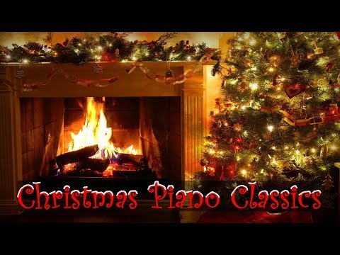 Christmas Piano Music with Decorated Crackling Fireplace