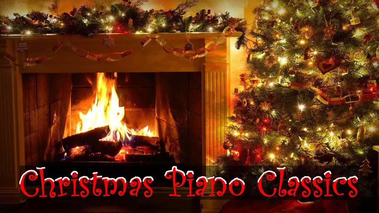Christmas Piano Music with Decorated Crackling Fireplace ...