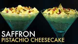 Saffron Pistachio Cheesecake   No-Bake Cheesecake   सैफरन पिस्तशीओ चीज़केक   Easy Desserts   Food Tak