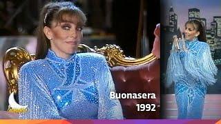 """Verónica Castro en """"Buonasera"""" con Amanda Lear - Italia - 1992"""