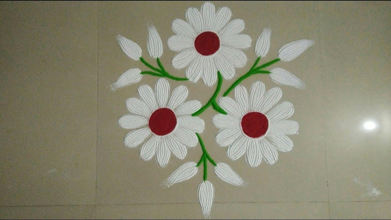 Easy Flower Rangoli Rangoli With A Fork Top Rangolis