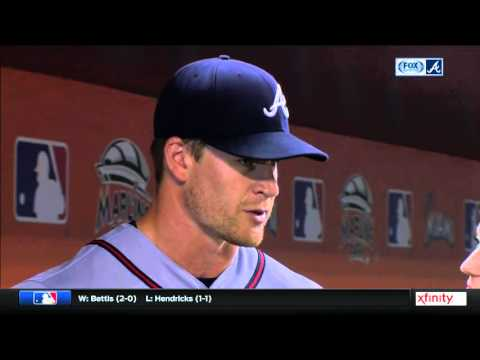 Gordon Beckham reacts after Braves' first win of the season