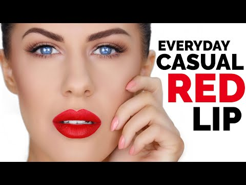 EVERYDAY CASUAL RED LIP MAKEUP LOOK! EASY & LONG LASTING!