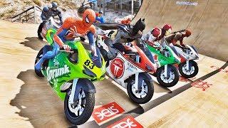 HOMEM ARANHA BATMAN E HOMEM DE FERRO COM SUPER MOTOS! DESAFIO MOTORBIKE COM SUPER HERÓIS - IR GAMES