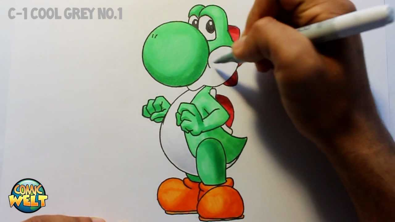 Wie Zeichnet Man Yoshi Super Mario Tutorial Youtube