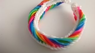 Repeat youtube video Como hacer una pulsera de gomitas modelo ( Seven Link  Fisthail)