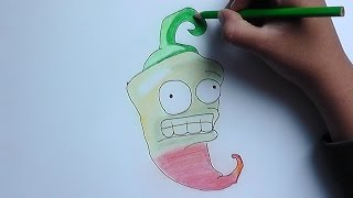 Dibujando paso a paso a Chile (Plantas vs Zombies) - Step by step drawing Chile