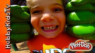 Giant HULK Hands CHASE HobbyKids! SMASH PLAY-DOH Ice Cream, Flower HobbyKidsTV