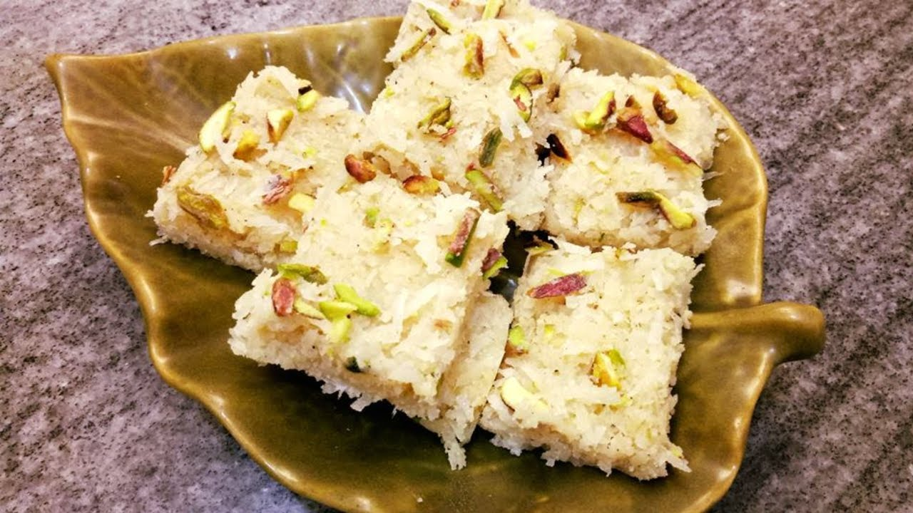 how to make coconut burfi without condensed milk