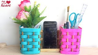 How to make Desk Organizer from Waste Materials? DIY Room Decoration | Best out of Waste.