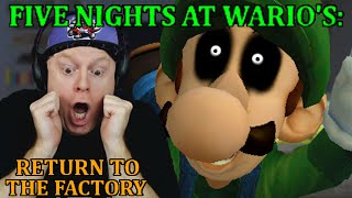 LUIGI JUMPSCARE OUTTA NOWHERE   FIVE NIGHTS AT WARIO'S RETURN TO THE FACTORY - FINAL NIGHTS + EXTRAS