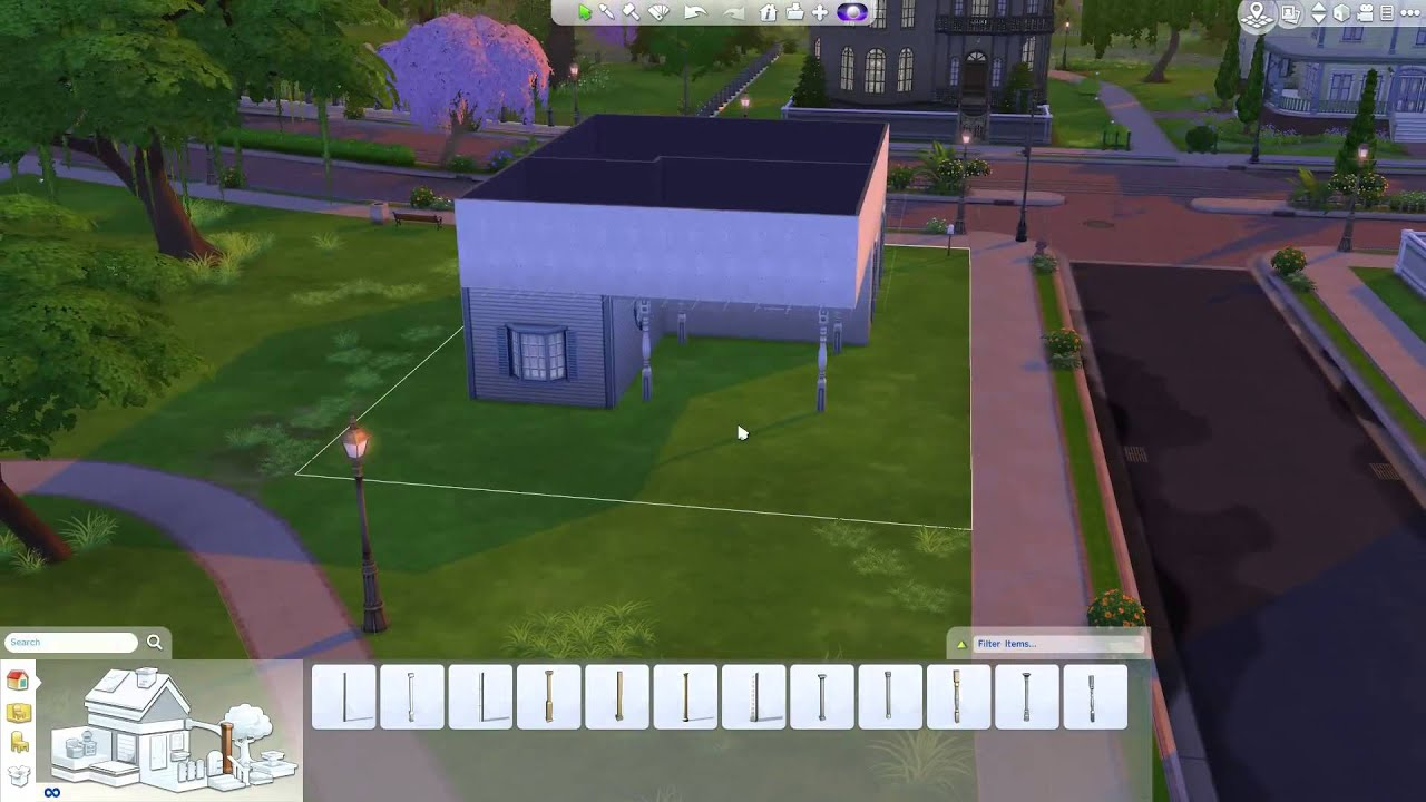 The sims 4 building a home exterior balcony youtube for Sims 4 balcony