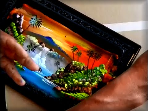 BEAUTIFUL Tropical Sunset STREET FINGER PAINTING
