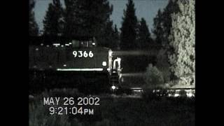 UP 9366 Meets a Southbound at Grass Lake, CA.  May, 2002