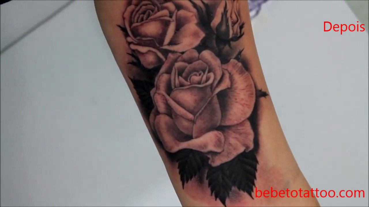Bebeto Tattoo Studio Tatuagem De Rosa Sombreada Black And Grey Cover Up Cobertura