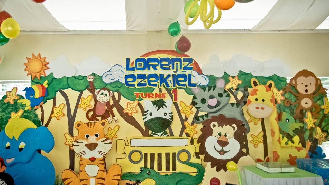 Lorenz ezekiels safari themed 1st birthday party youtube