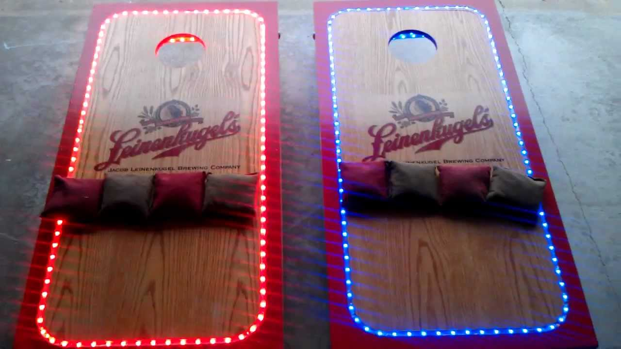 Lighted Leinenkugel Cornhole Boards - YouTube