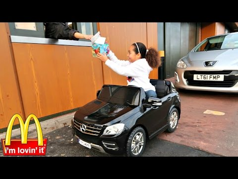 Bad Kids Driving Power Wheels Ride On Car - McDonalds Drive Thru Prank!