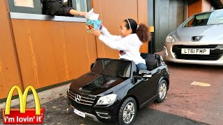 Repeat youtube video Bad Kids Driving Power Wheels Ride On Car - McDonalds Drive Thru Prank!