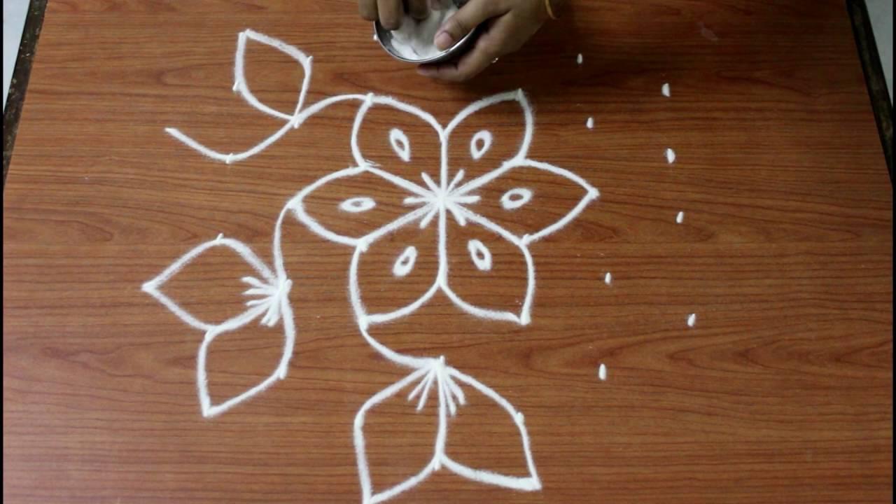 Flower Muggulu With 7 To 4 Dots Flower Kolam Simple Rangoli Flower