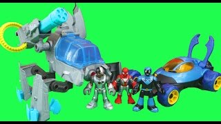 Imaginext Cyborg Mech & Blue Beetle & Vehicle Mr. Freeze Clay Face Spider-man freeze chamber