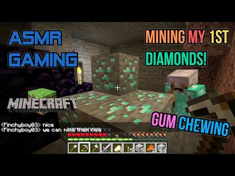 ASMR Gaming | Minecraft 1st Time Mining Diamonds! Gum Chewing 🎮🎧Keyboard Sounds + Whispering😴💤