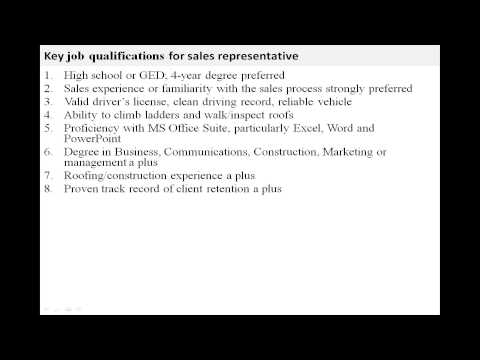 Sales representative job description YouTube – Sales Rep Job Description