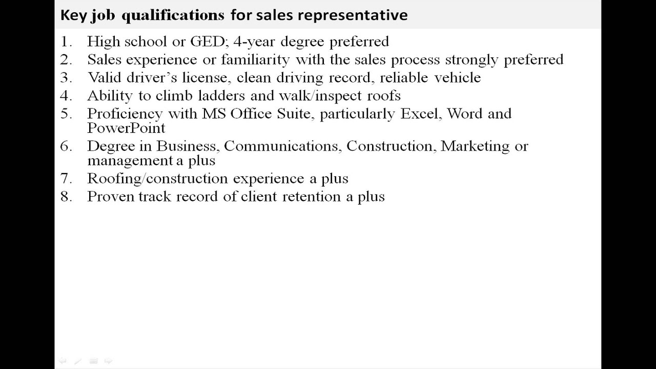 Sales job description