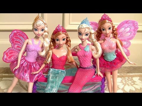 Thumbnail: Mermaid Anna & Mermaid Elsa Playing Fairytale Dress-Up with Princess Barbie Mix n Match Outfits